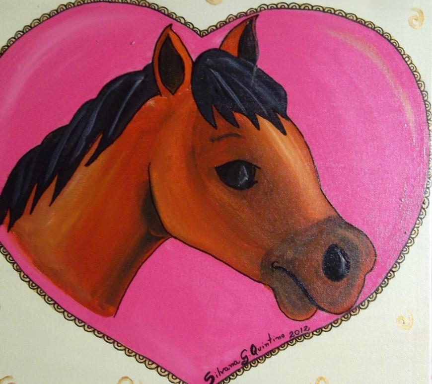 Pintura em tela de cavalo dentro do coração