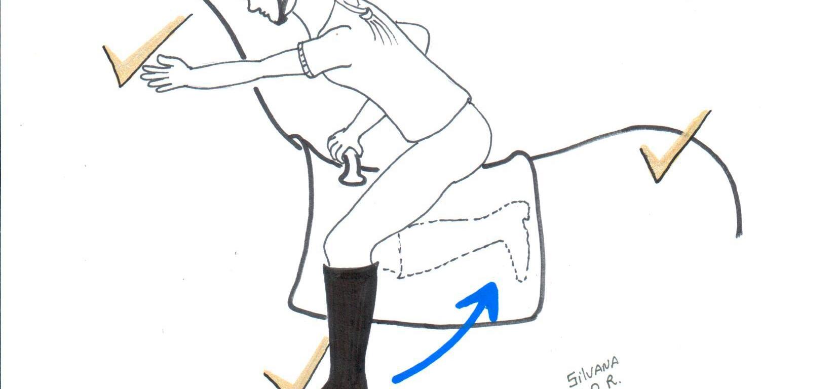 Desenho de praticante de equoterapia fazendo exercício de tocar o pescoço do cavalo