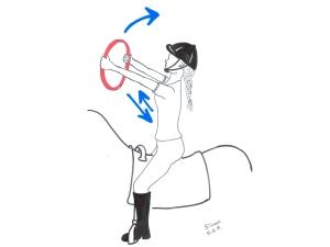 desenho de praticante de quoterapia fazendo exercício com bambolê para equilíbrio