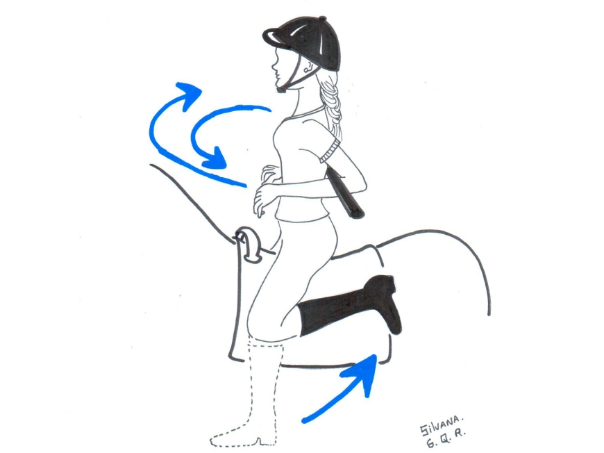 desenho de praticante de equoterapia fazendo exercício com bastão.