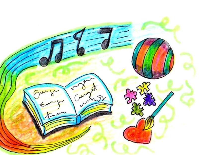 Jogos Pedagógicos Equoideias. Desenho de livro, bola, pincel, quebra cabeça e cifras musicais.