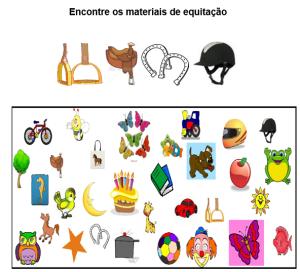 Jogos pedagógicos Equoideias. Desenhos de materiais de equitação misturados com outros materiais.
