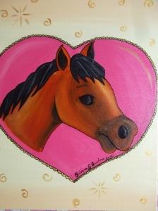 pintura de cavalo dentro de um coração em tela.