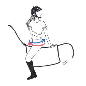 Desenho de uma menina montada cavalo com o corpo girado, olhando para trás.