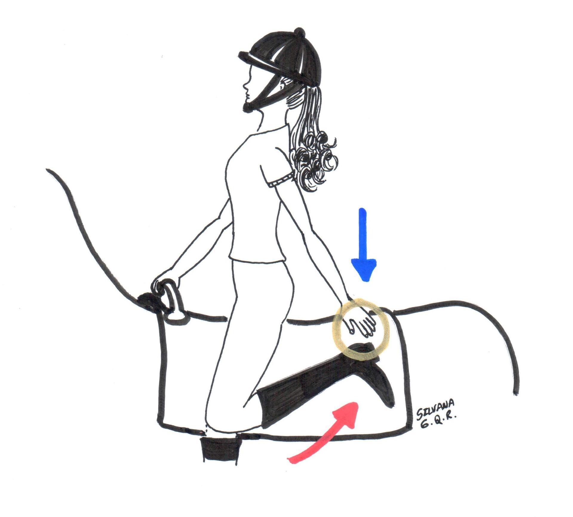 Desenho de uma menina montada um cavalo durante a sessão de equoterapia tocando o pé esquerdo com a mão esquerda.