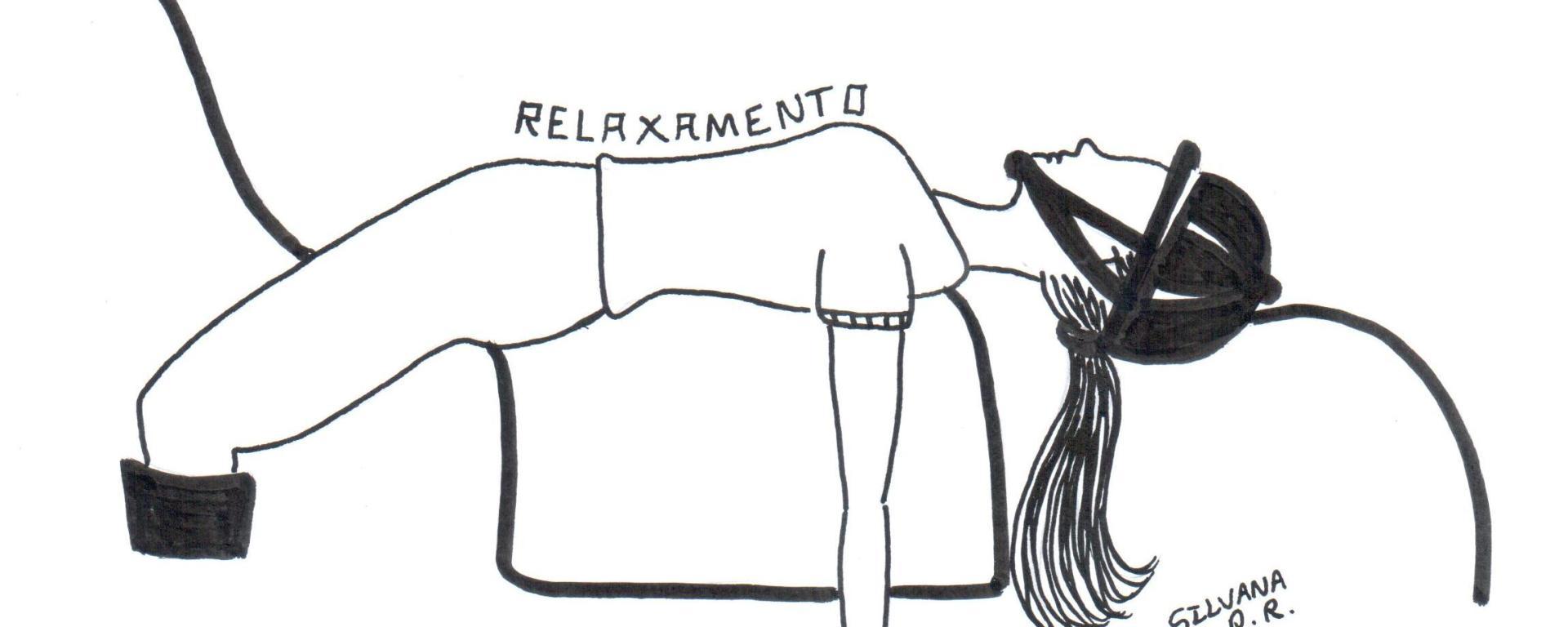 Desenho de uma menina montada no cavalo realizando o movimento de deitar em cima do cavalo para relaxar durante a sessão de equoterapia.