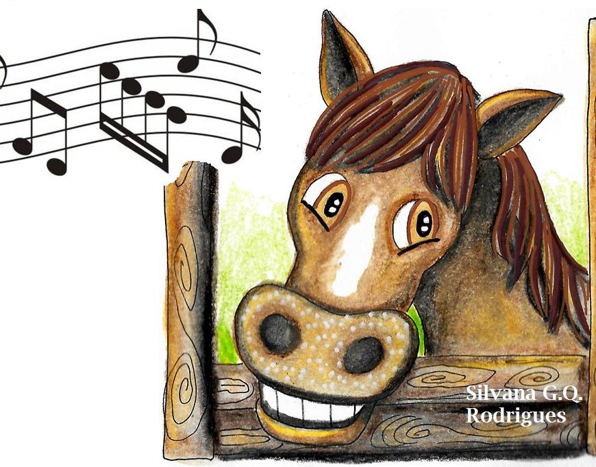 Desenho de um cavalo dentro da baia com cifras musicais.