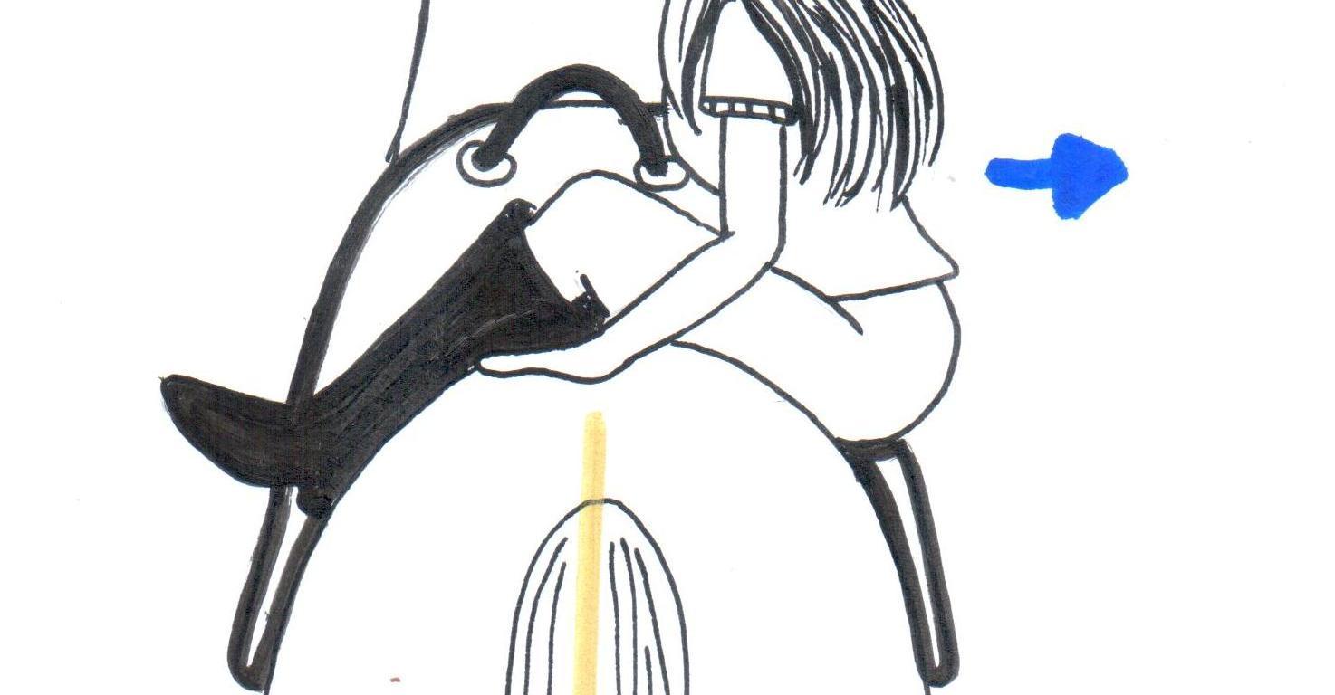 Desenho de uma menina montada o cavalo com o tronco fora do centro para fortalecer a musculatura abdominal.