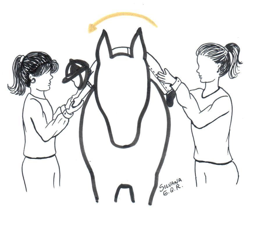 Desenho de uma criança deitada em cima do cavalo de barriga para baixo, acompanhada de duas mulheres, uma segurando os pés e a outra segurando os braços.