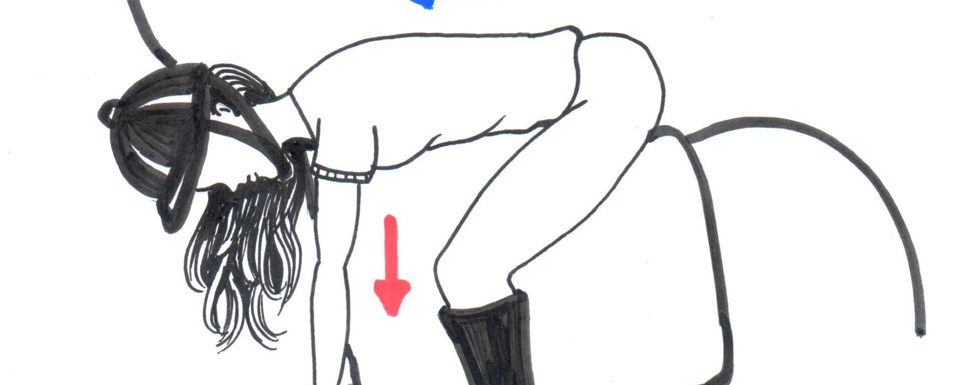 Desenho de uma menina montada o cavalo com o tronco flexionado para frente, abraçando o cavalo.