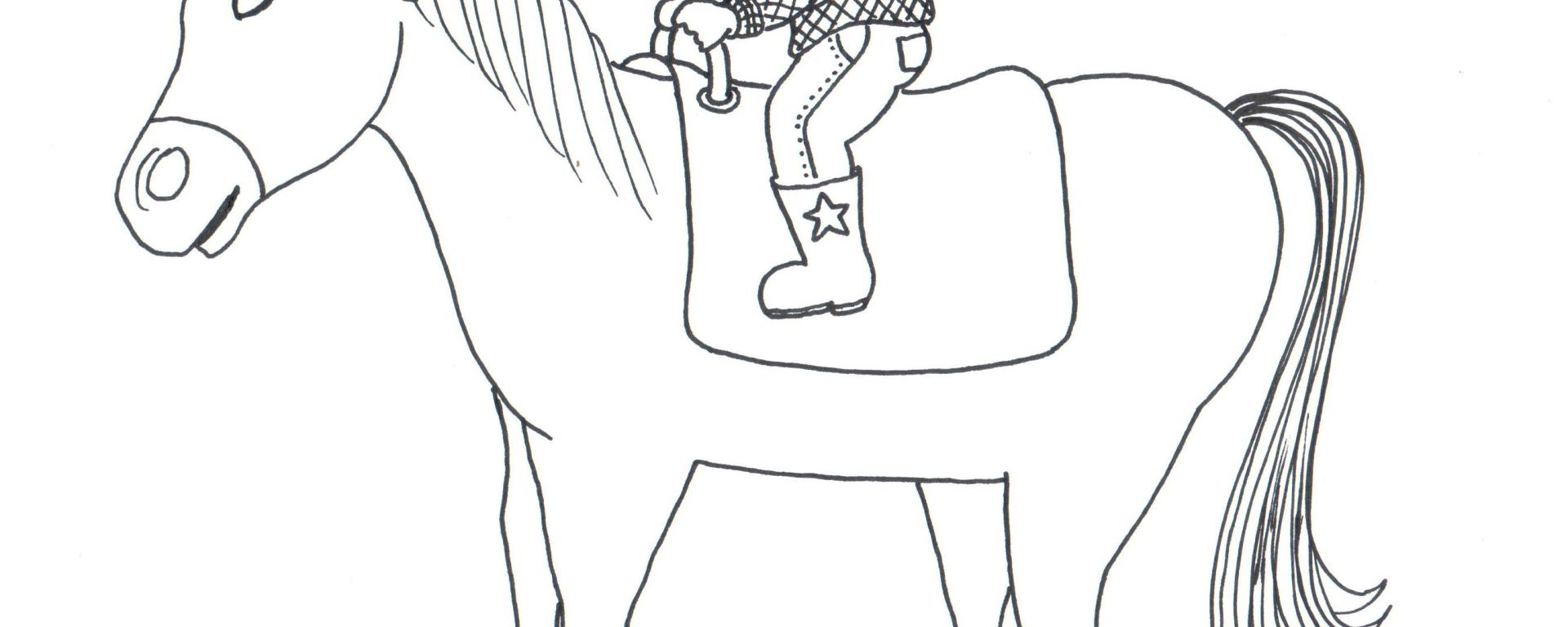 Desenho para colorir de um menino vestido capacete de equitação, bota, calça e camisa, montado um cavalo.