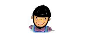 Equoideias para colocar o capacete. Desenho de uma menina com um capacete de equitação.