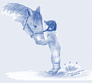 Desenho de menina beijando um cavalo.