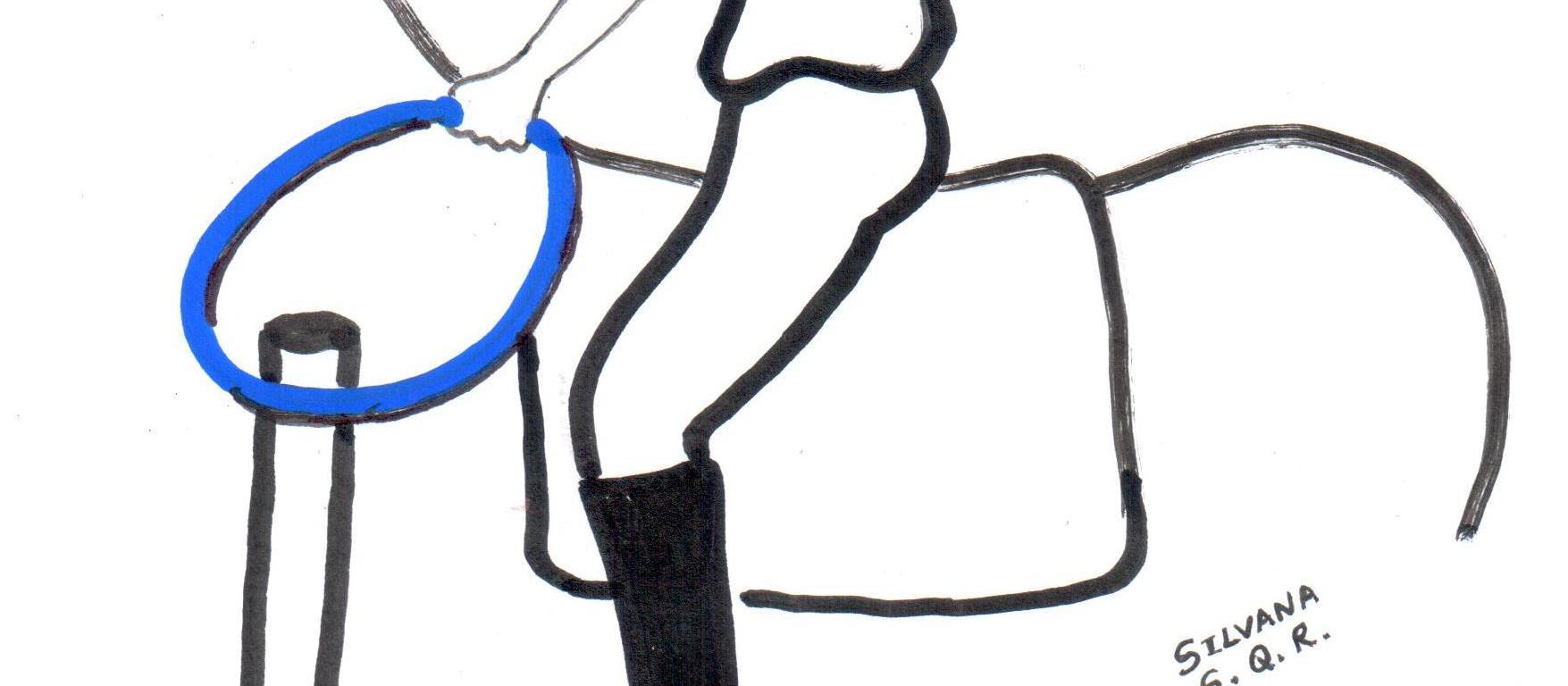 Desenho de uma praticante de equoterapia montada um cavalo, segurando um arco e colocando em um cano.