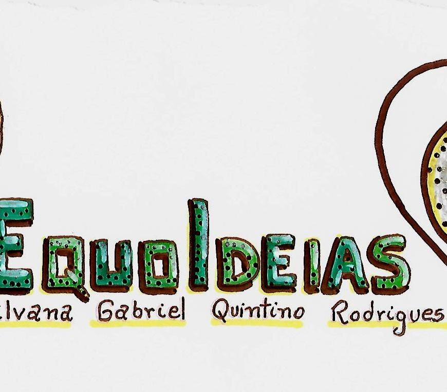 Desenho do logotipo do Equoideias e de uma lâmpada e um coração.