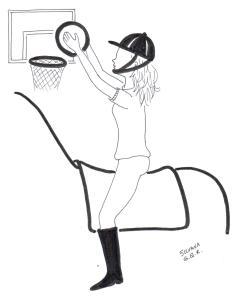 Desenho de uma praticante de equoterapia segurando uma bola de basquete e jogando em uma cesta.