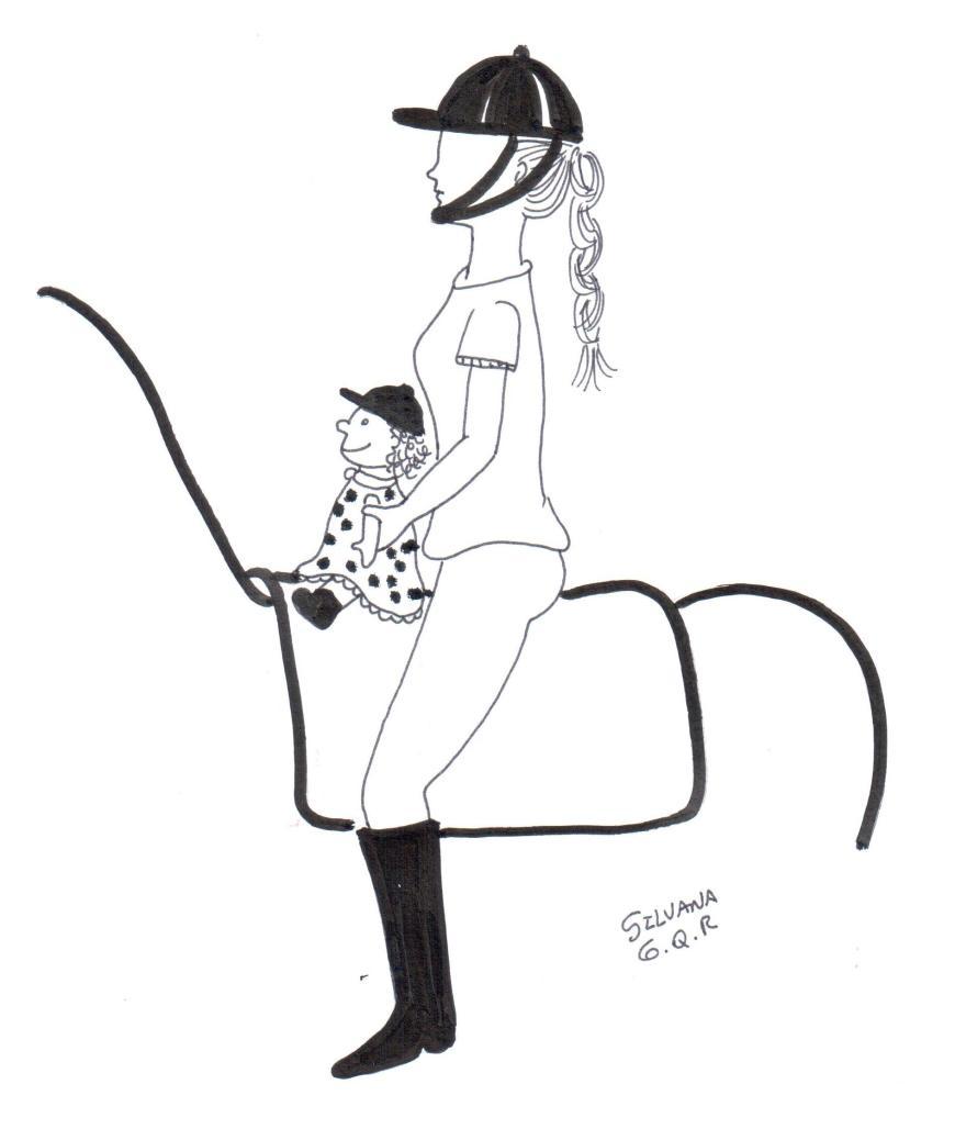 Desenho de uma praticante de equoterapia montada o cavalo com uma boneca.
