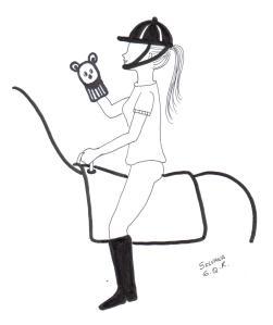 Desenho de uma praticante de equoterapia, montada um cavalo, segurando um fantoche na mão direita.