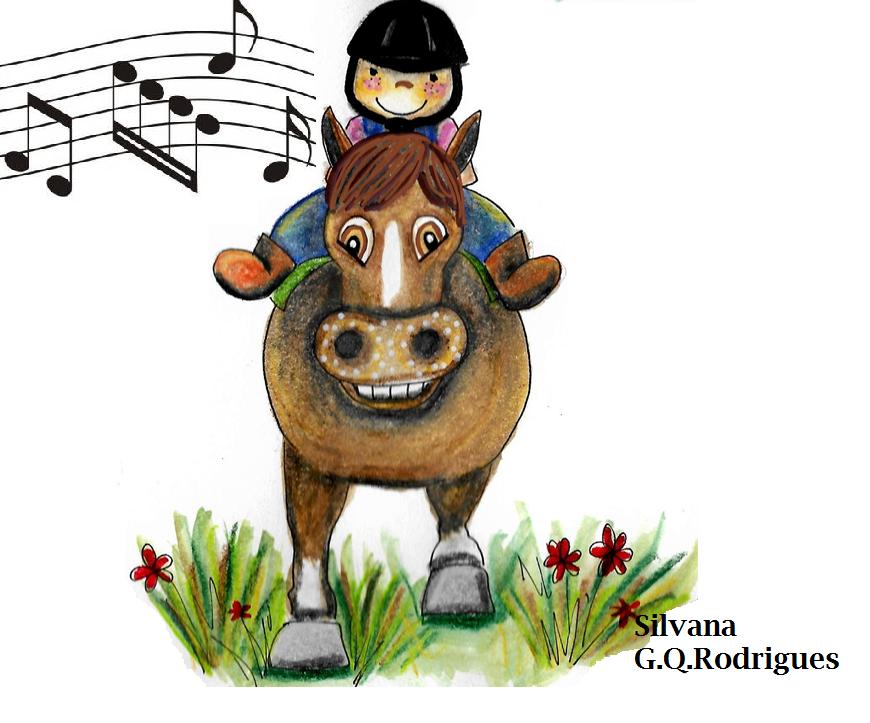 Equoideias com música. Desenho de uma menina montada um cavalo marrom com cifras musicais.