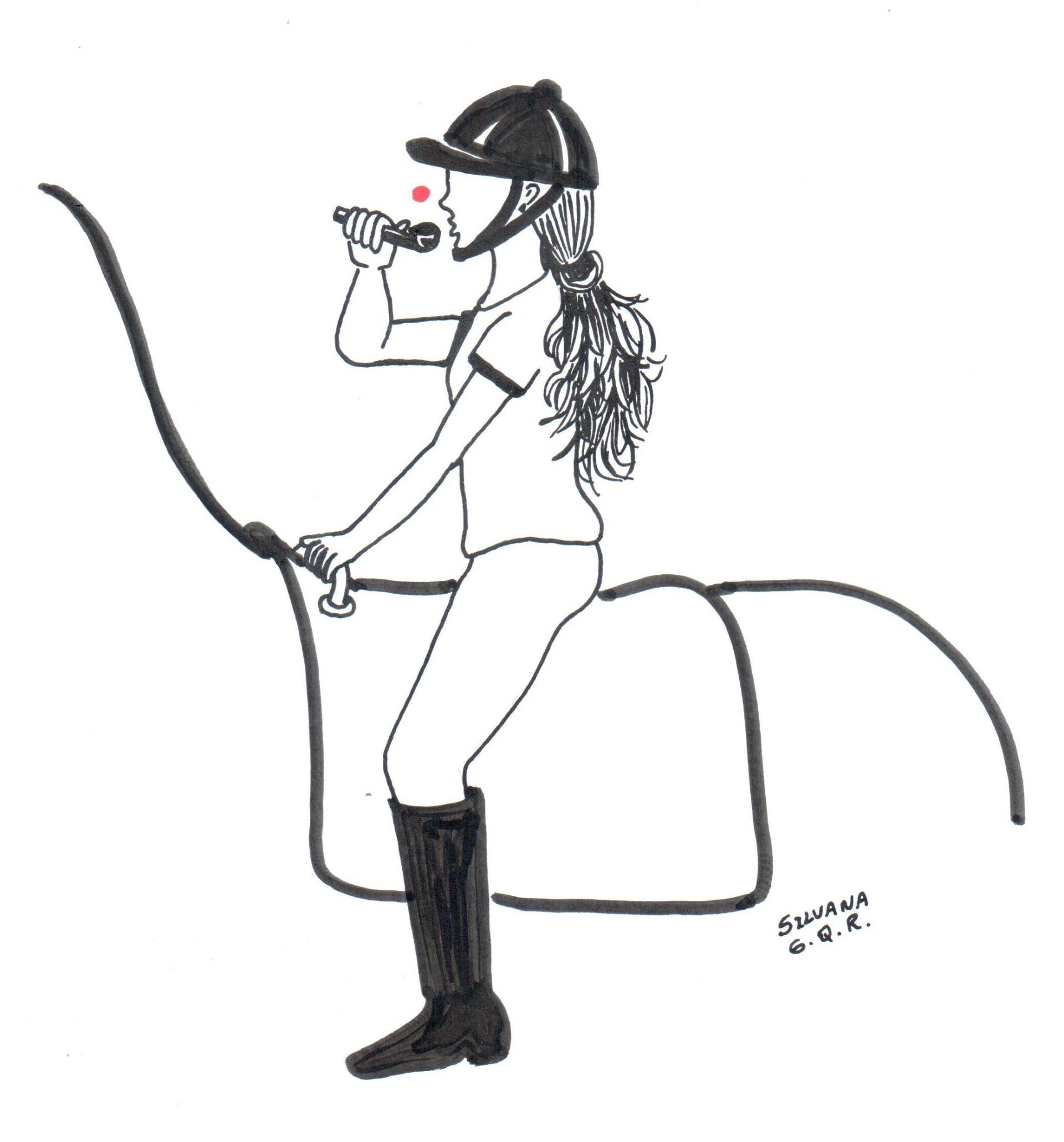 Desenho de uma menina montada o cavalo soprando um brinquedo que levanta uma bola.