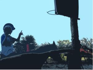 Profissional da Educação Física na Equoterapia. Foto de um praticante montado o cavalo, jogando uma bola na cesta de basquete.