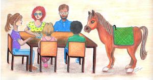 Desenho de uma equipe multidisciplinar na equoterapia fazendo reunião em volta de uma mesa, com o cavalo na ponta.
