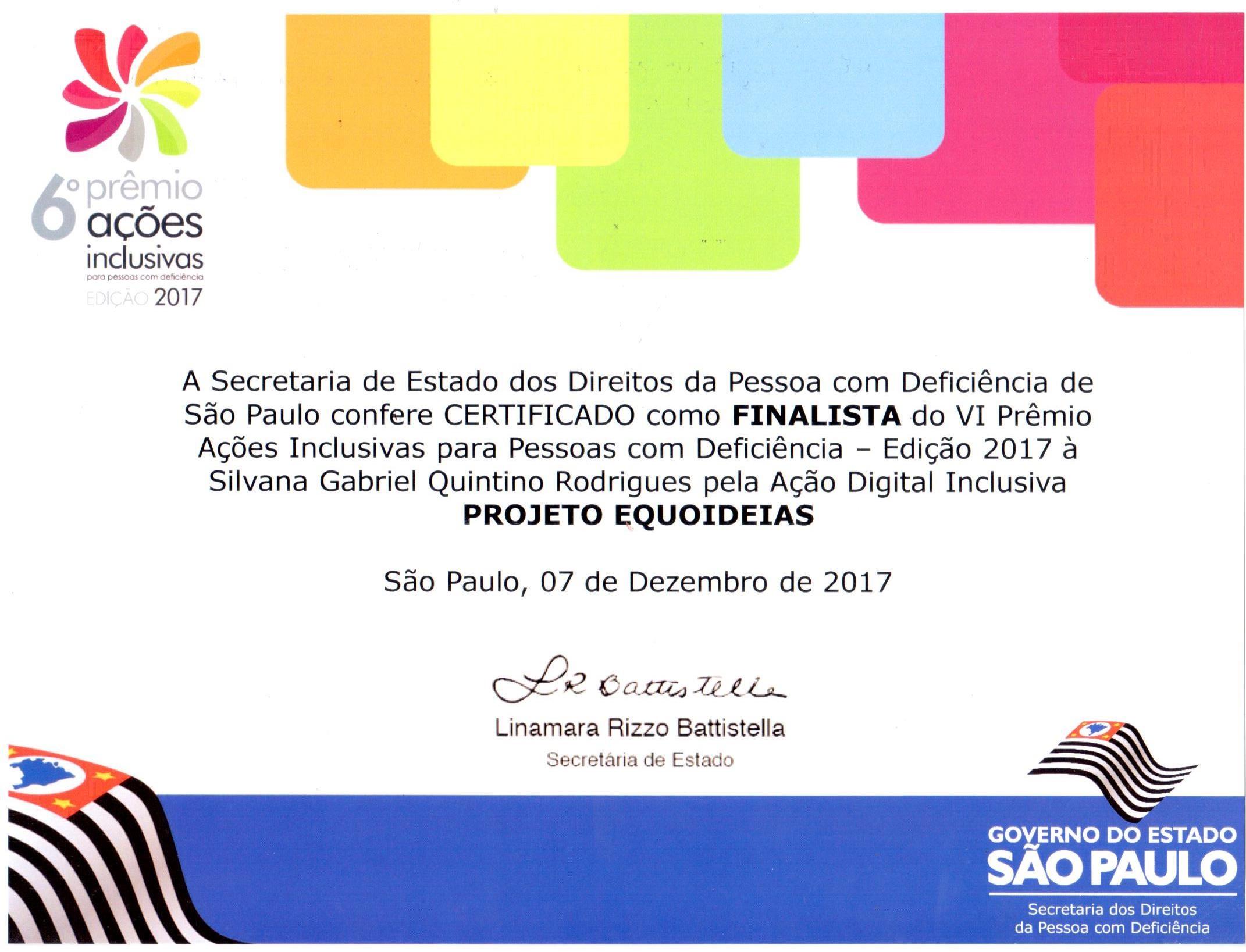 Certificado Premio Ações Inclusivas