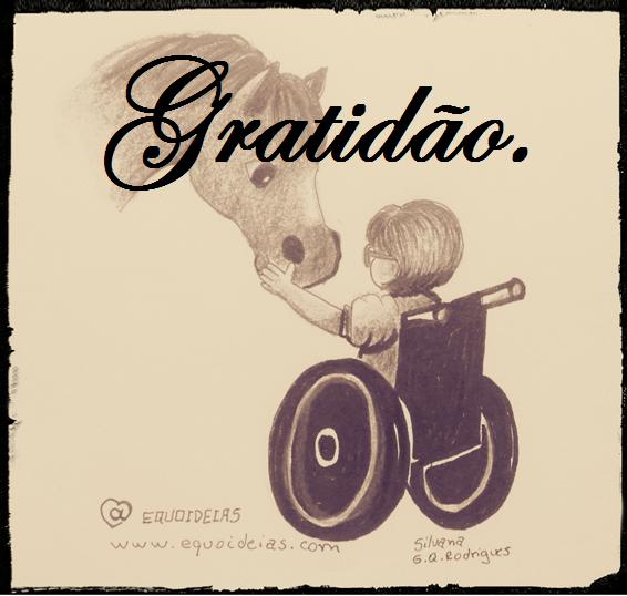 Desenho Equoideias de um cavalo e uma menina cadeirante tocando a fronte do cavalo e a palavra gratidão na frente.