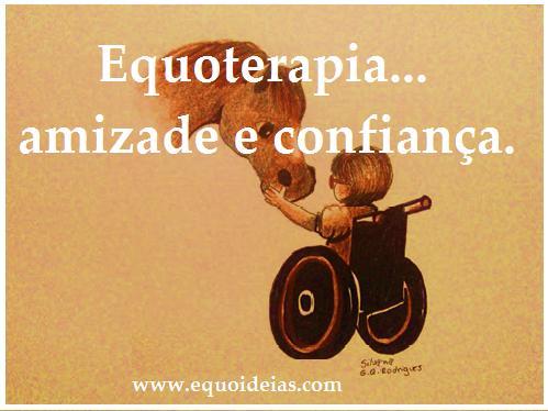 Desenho de uma menina cadeirante tocando a fronte de um cavalo e a frase equoterapia...amizade e confiança.