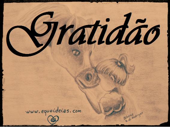 Desenho de uma menina com a testa na fronte do cavalo e a palavra gratidão na frente.