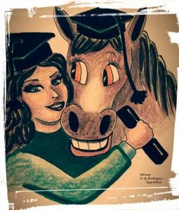 Desenho de uma menina com chapéu de formatura abraçada um cavalo também com chapéu de formatura.