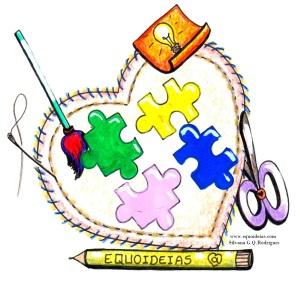 Desenho de materiais de artesanato para a preparação dos materiais da Equoterapia. Caneta, agulha, tesoura, quebra-cabeça e coração