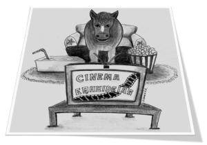 Desenho em preto e branco de um cavalo sentado no sofá assistindo televisão, com um pote de pipoca e bebida ao lado.