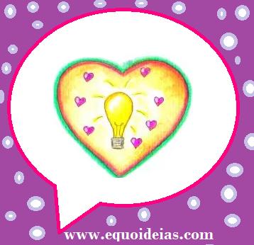 Desenho de uma lâmpada de luz e um coração dentro de um desenho de balão de fala.