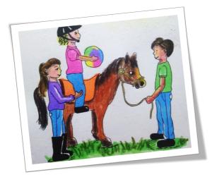 Desenho de menina montada cavalo segurando uma bola. A equoterapeuta está ao lado do cavalo e o equitador segurando as rédeas.