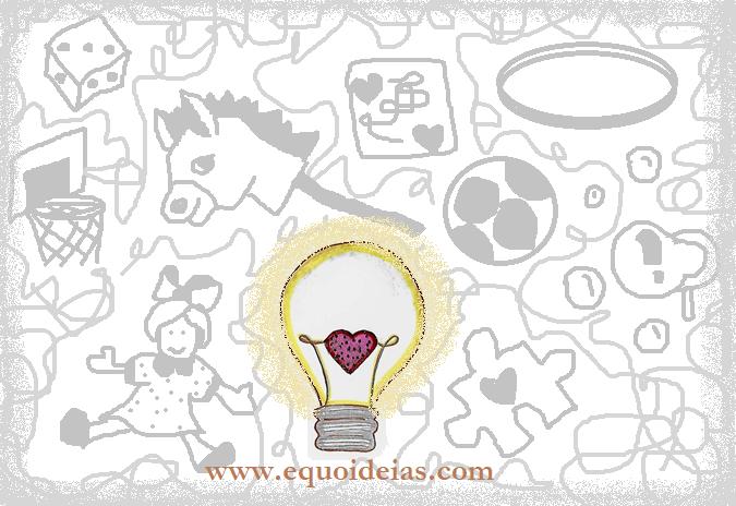 Desenho de uma lâmpada com um coração e o site do equoideias.com