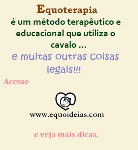 Frase de Equoterapia e logotipo Equoideias: Equoterapia é um método terapêutico e educacional que utiliza o cavalo e outras coisas legais.