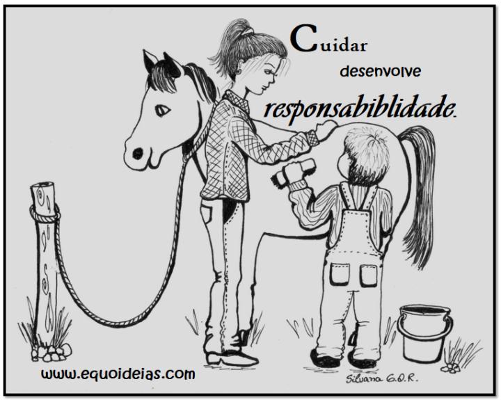 Desenho de menino e terapeuta dando banho no cavalo e a frase: Cuidar desenvolve responsabilidade.