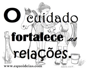 Desenho de menino dando banho em um cavalo com a terapeuta e a frase: O cuidado fortalece as relações.