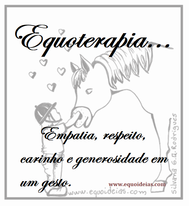Desenho de um menino tocando o cavalo na fronte e a frase: Equoterapia, empatia, respeito, carinho e generosidade em um gesto.