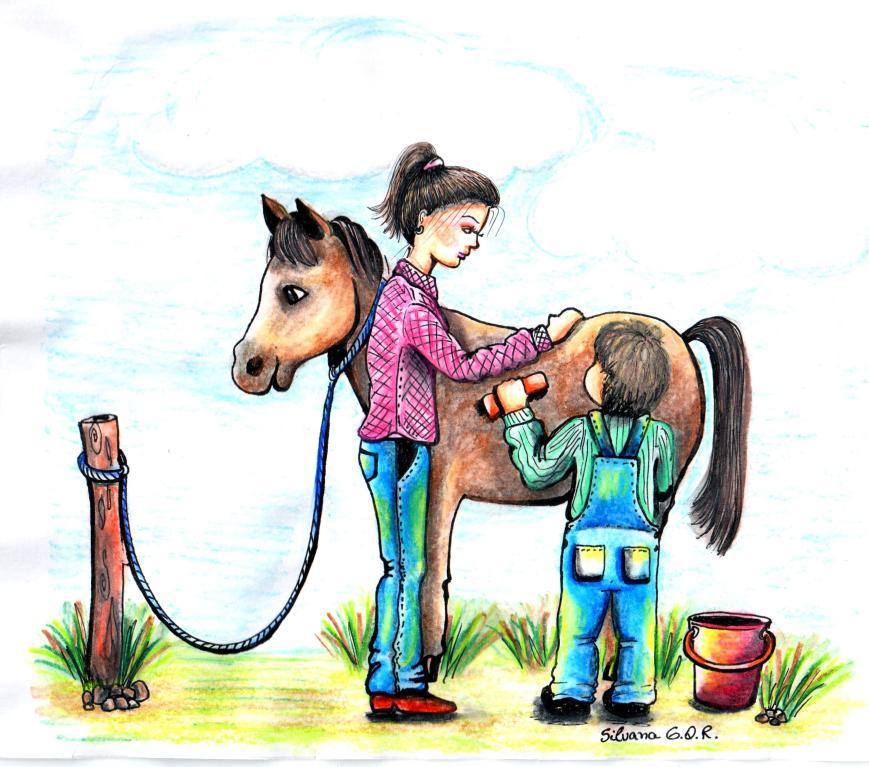 Desenho de um menino passando um escova de pelos em um cavalo com a orientação da equoterapeuta