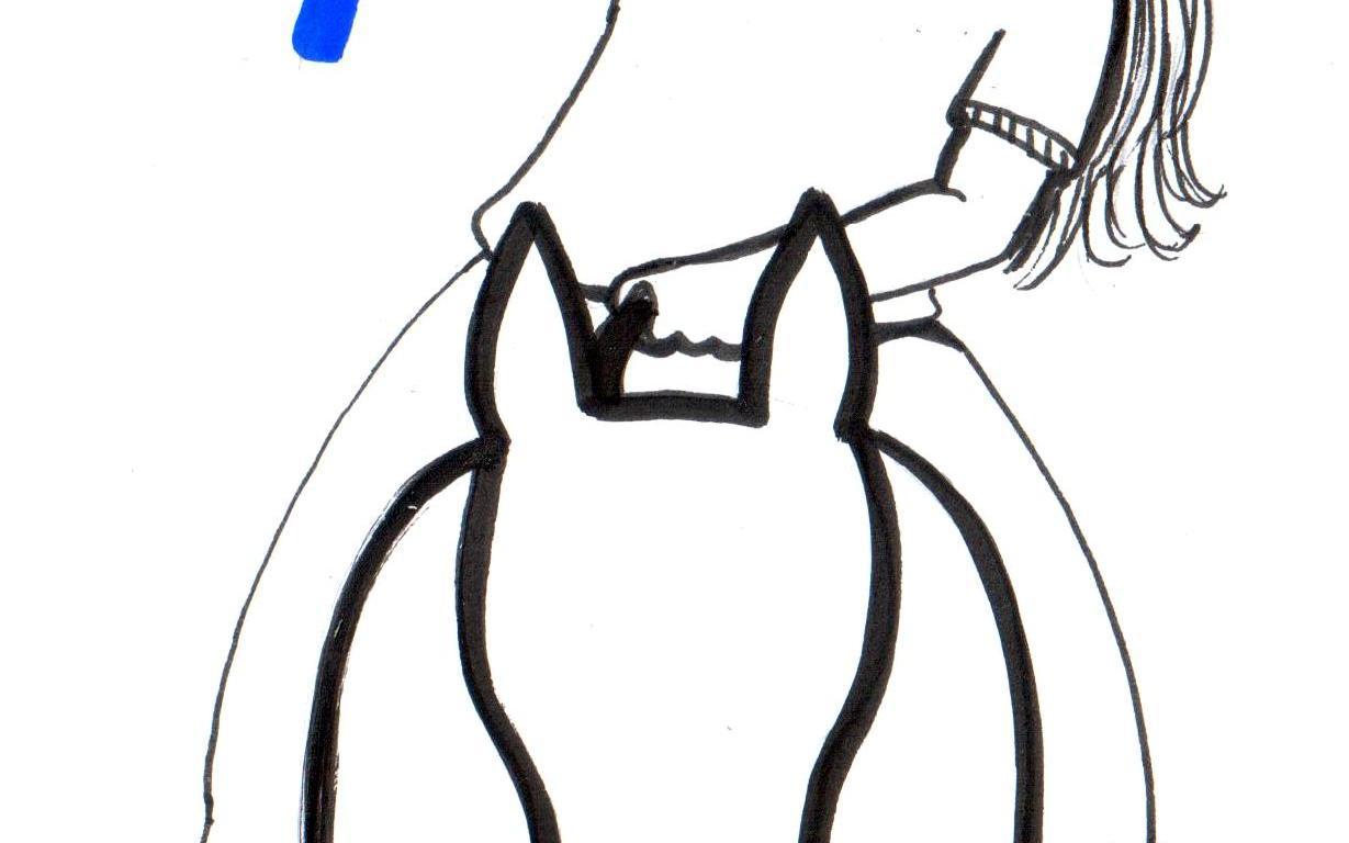 Desenho de uma praticante de Equoterapia fazendo alongamento em cima de um cavalo.