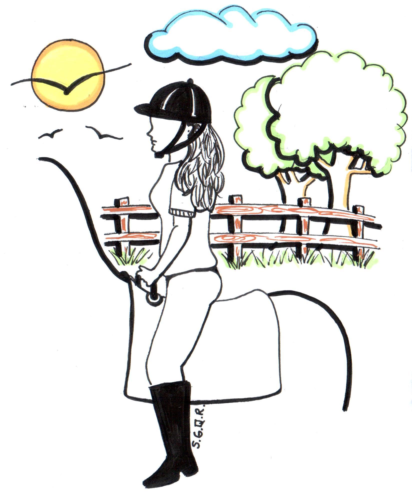 Desenho de uma praticante de Equoterapia montada um cavalo e no fundo árvores, cerca, nuvens, sol e pássaros.