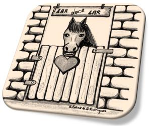 Desenho de um cavalo dentro de uma baia com um coração na porteira.