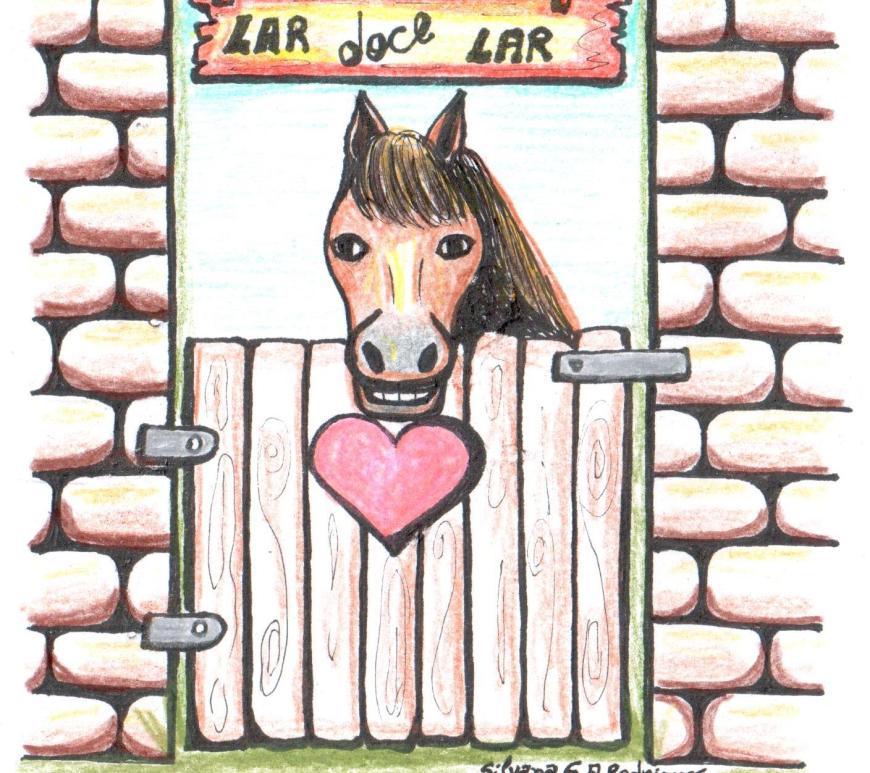 Desenho de um cavalo dentro de uma baia com um coração e a frase Lar doce lar