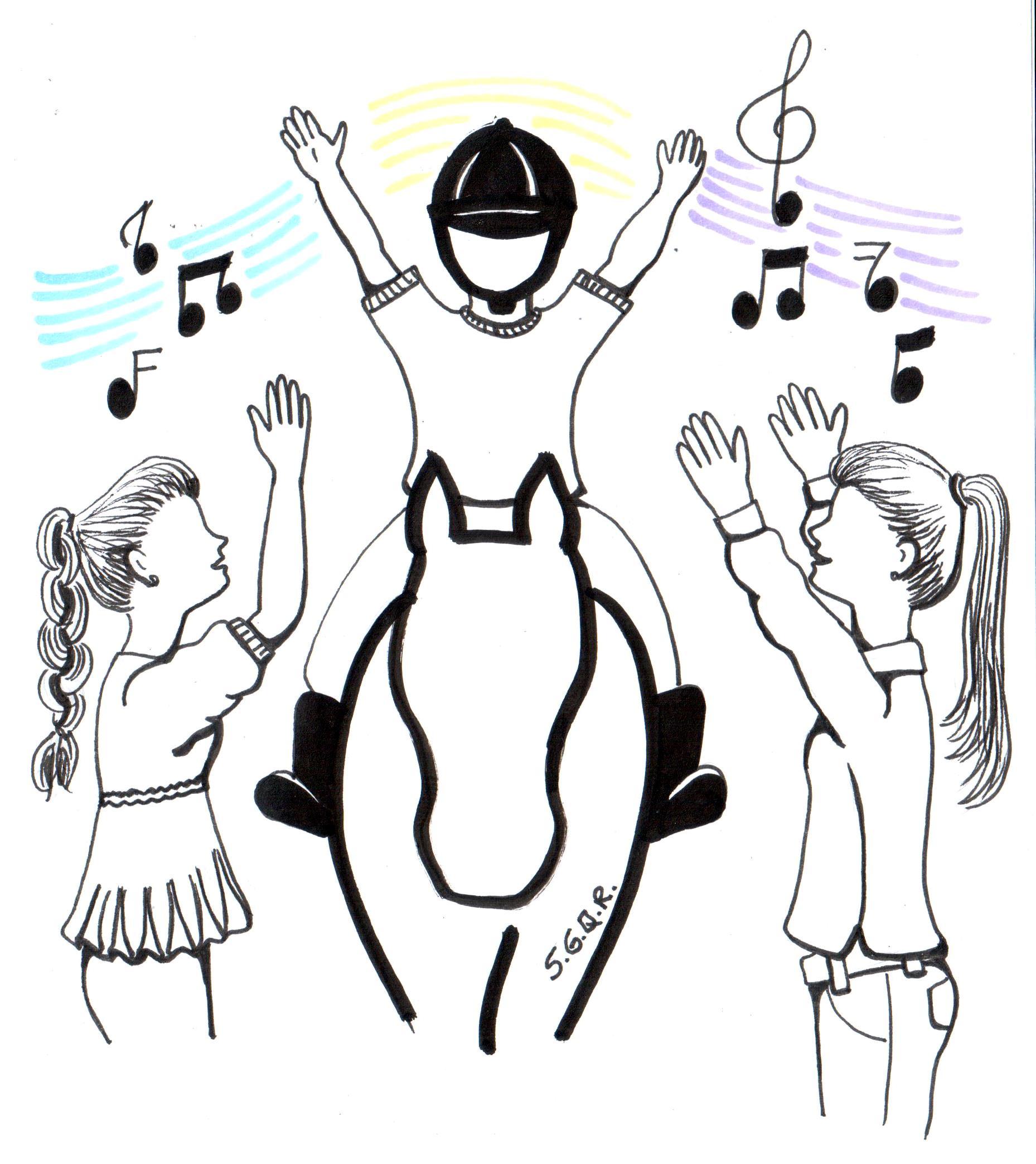 Desenho de um praticante de Equoterapia montado um cavalo e duas equoterapeutas ao lado. Todos estão com os braços levantados como se estivessem cantando uma música.