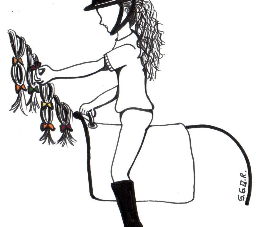 Desenho de uma praticante de equoterapia montada um cavalo e colocando presilhas na crina do cavalo.