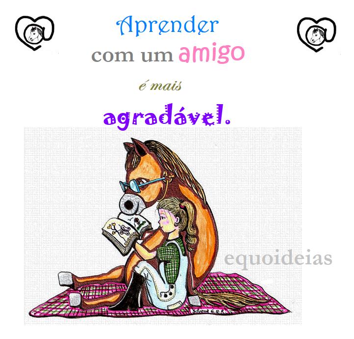 Desenho de uma menina lendo um livro sentada ao lado de um cavalo e a frase: Aprender com um amigo é mais agradável.