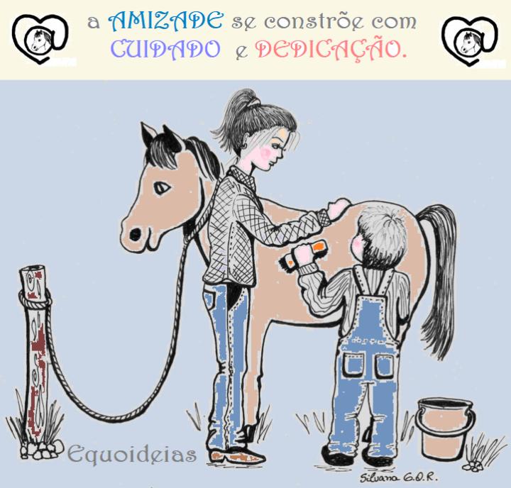 Desenho de uma menino dando banho em um cavalo com frase de amizade.