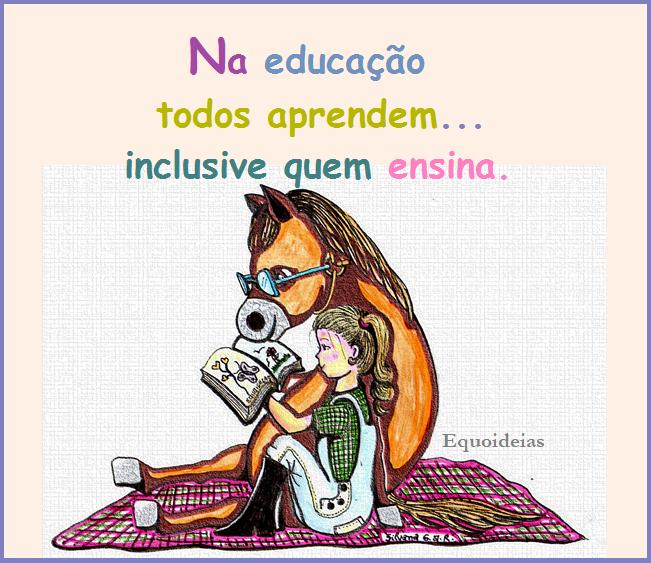 Desenho de menina e cavalo lendo um livro juntos sentados e uma frase sobre educação.